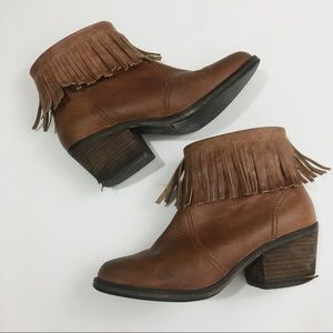 Shoemint 7 Lucy Tan Fringe Leather Heeled Booties